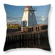 Lighthouse On A Channel By Cascumpec Bay On Prince Edward Island No. 095 Throw Pillow