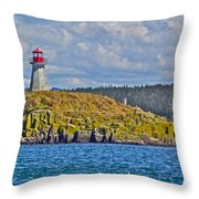 Lighthouse On Brier Island In Digby Neck-ns Throw Pillow