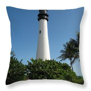 Lighthouse On Key Biscayne Throw Pillow