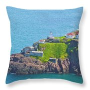 Lighthouse On Point In Signal Hill National Historic Site In Saint John's-nl Throw Pillow