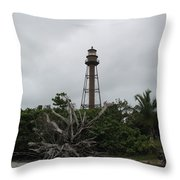 Lighthouse On Sanibel Island Throw Pillow
