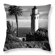 Lighthouse On The Bluff Throw Pillow