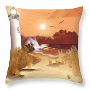 Lighthouse On The Coast Throw Pillow