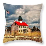 Lighthouse On The Delaware Throw Pillow