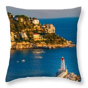 Lighthouse On The Riviera Throw Pillow