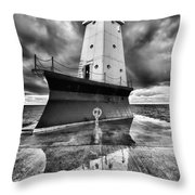 Lighthouse Reflection Black And White Throw Pillow