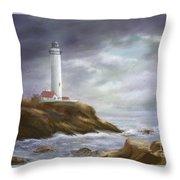 Lighthouse Stormy Sky Seascape Throw Pillow