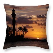 Lighthouse Sun Rays Throw Pillow