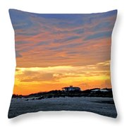 Lighthouse Sunset By Jan Marvin Throw Pillow