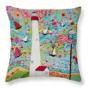 Cape May Point Lighthouse Magic Throw Pillow
