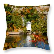 Lighthouse Through The Leaves Throw Pillow