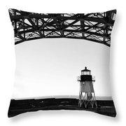 Lighthouse Under Golden Gate Throw Pillow