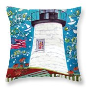 Lighthouse With Music Throw Pillow