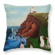 Lighthouse With Penguins Throw Pillow