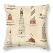 Lighthouses Of The East Coast Throw Pillow
