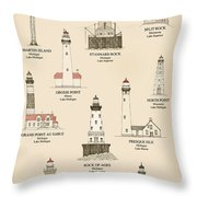 Lighthouses Of The Great Lakes Throw Pillow