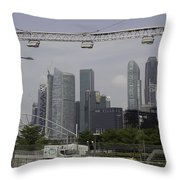 Lighting Work For The Singapore Formula One And A View Of The Helix Bridge Throw Pillow