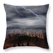 Lightning - North Rim Of Grand Canyon Throw Pillow