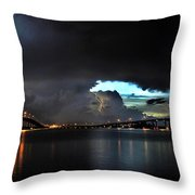 Lightning And The Cerulean Sky Throw Pillow