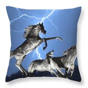 Lightning At Horse World Bw Color Print Throw Pillow