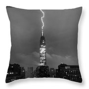 Lightning Hits Empire State Throw Pillow