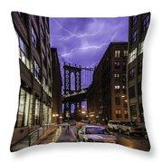 Lightning Over Manhattan Bridge Throw Pillow