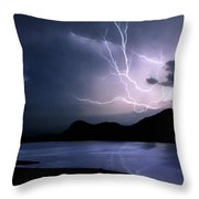 Lightning Over Quartz Mountains - Oklahoma Throw Pillow