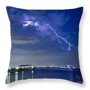 Lightning Over Safety Harbor Pier Throw Pillow