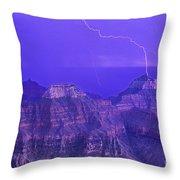Lightning Storm North Rim Grand Canyon National Park Arizona Throw Pillow