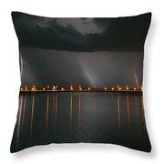Lightning Storm Pano Work A Throw Pillow