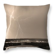 Lightning Strike Boulder Reservoir And Coot Lake Sepia Throw Pillow by James BO  Insogna