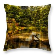 Lightning Strike By The Nature Center Merged Image Throw Pillow