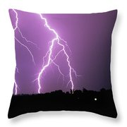 Lightning Striking During A Storm Throw Pillow