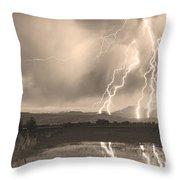 Lightning Striking Longs Peak Foothills Sepia 4 Throw Pillow