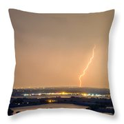 Lightning Striking Over Coot Lake And Boulder Reservoir Throw Pillow by James BO  Insogna