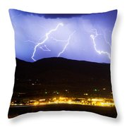 Lightning Striking Over Ibm Boulder Co 3 Throw Pillow by James BO  Insogna