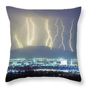 Lightning Striking Over Phoenix Arizona Throw Pillow