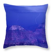 Lightning Strkes At The North Rim Grand Canyon National Park Throw Pillow