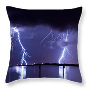 Lightning Over Tampa Causeway Throw Pillow