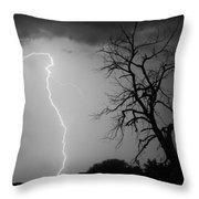 Lightning Tree Silhouette Black And White Throw Pillow