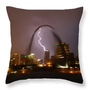 Lightning With The St Louis Arch Throw Pillow
