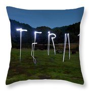 Lightpainting Image Spelling The Word Throw Pillow