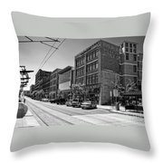 Light Rail Line And Old Downtown Buildings_bwhdr Throw Pillow