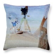 Lights Butterflies Sand And Surf Throw Pillow