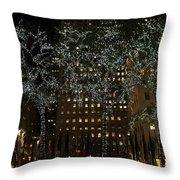 Lights In Rockefeller Center Throw Pillow
