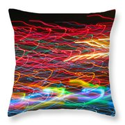 Lights In The Fast Lane Throw Pillow