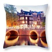 Lights Of Amsterdam Throw Pillow