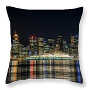 Lights Of Vancouver Throw Pillow