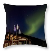 Lights Over Princess Denali Lodge Throw Pillow