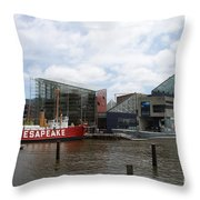 Lightship 116 - Baltimore Harbor Throw Pillow